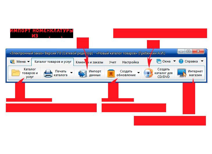 Главный интерфейс программы (Электронный заказ) по созданию каталога товаров . 515ecd0c072